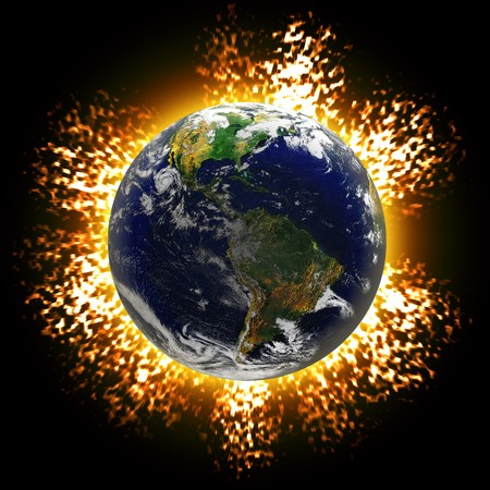 Illustration of an exploding planet earth or asteroid collision against the globe.  Earth image courtesy of NASA. illustration