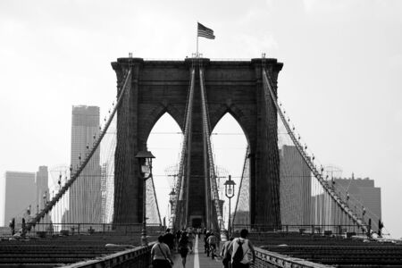 brooklyn bridge: The famous and historic Brooklyn Bridge located in New York City.