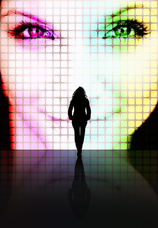 Illustration with a silhouette of a woman looking at another pretty womans face on a screen. Stock Photo