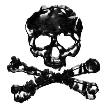 plagiarism: Skull and cross bones illustration isolated over a white background. Stock Photo