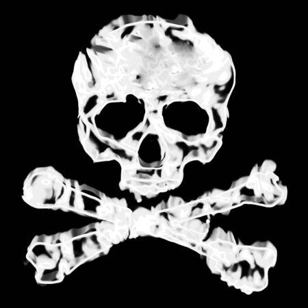 Skull and cross bones illustration isolated over a black background. Stock Illustration - 7916874