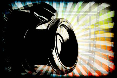 rainbow slide: Generic digital camera photography graphic with copy space.