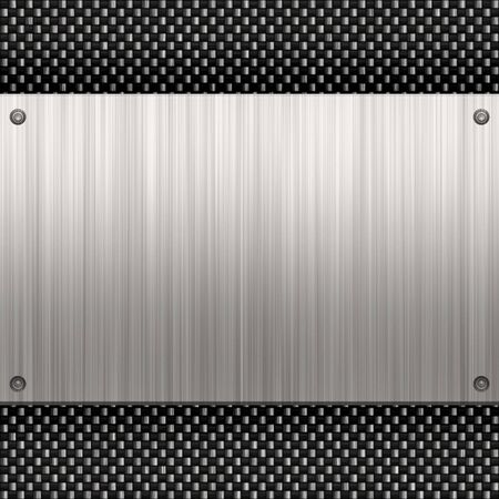 bumped: Carbon fiber background with a riveted piece of brushed aluminum plate. Plenty of copyspace in this layout. Stock Photo