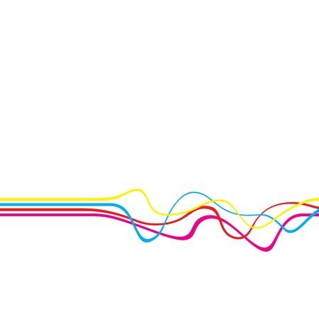 geluid: Abstract lay-out met golvende lijnen in een CMYK-kleurenschema geïsoleerd op een witte vaste kleur achtergrond.  Stockfoto