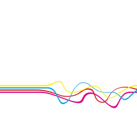 squiggly: Abstract layout with wavy lines in a CMYK color scheme isolated over a white solid color background.  Stock Photo