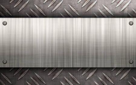 diamondplate: Indossati diamante piastra texture metallo con una lastra di alluminio spazzolato rivettata ad esso. Rende un grande modello di layout o il biglietto da visita.  Archivio Fotografico