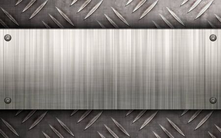 Worn diamond plate metal texture with a brushed aluminum plate riveted to it.  Makes a great layout or business card template. Stock Photo - 7927606