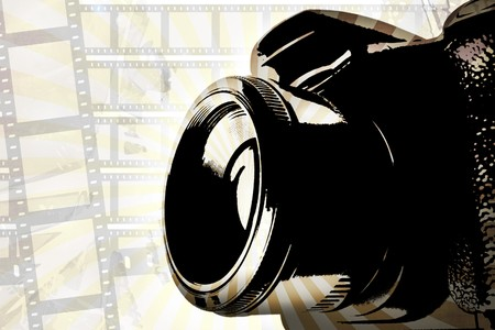 Retro SLR camera background with film strips and vintage rays. photo