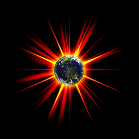courtesy: Illustration of an exploding planet earth or asteroid collision against the globe.  Earth image courtesy of NASA.