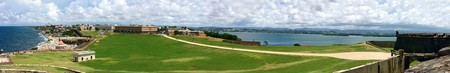 rico: Wide angle panoramic view of Old San Juan Puerto Rico from El Morro fortification. Stock Photo