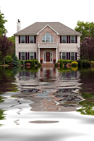 House with flood damage concept with water reflections.
