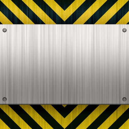 dangerous construction: A riveted 3d brushed metal plate on a construction hazard stripes background.