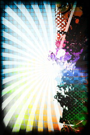 A funky and rainbow colored splatter layout with halftone texture and copy space. photo