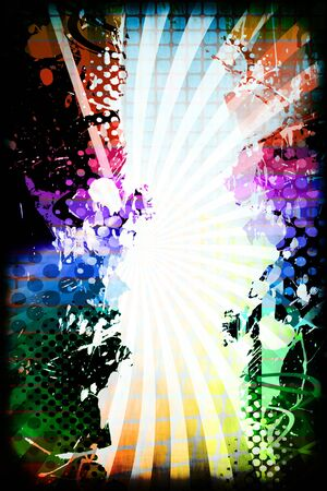 grid background: A funky and rainbow colored splatter layout with halftone texture and copy space.