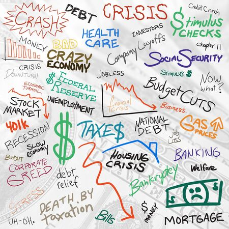 austerity: Recession economy and finance related doodles isolated over white. Stock Photo