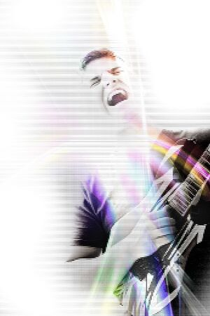 Abstract illustration of a young man rocking out with his electric guitar.