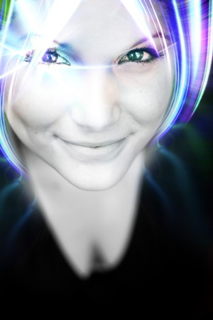 manga girl: An abstract woman with glowing plasma like hair.