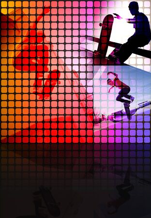 Abstract montage of a teenage skateboarder performing stunts with copy space. Stock Photo