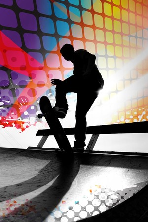 skate: Silhouette of a young teenage skateboarder going down a ramp with colorful graphic elements and grungy halftone. Stock Photo