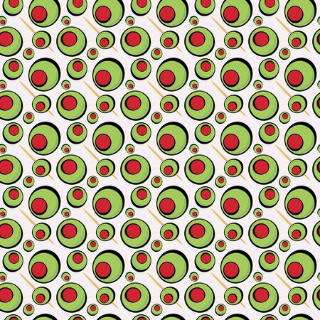 pimento: A green olives illustration that tiles seamlessly in a pattern in any direction.  Great for a martini graphic or restaurant drinks menu.