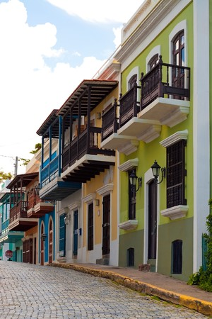 rico: A row of colorful pastel painted buildings in Old San Juan Puerto Rico. Stock Photo