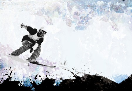 A grungy extreme winter sports layout with plenty of negative space for your text. Stock Photo - 8204603