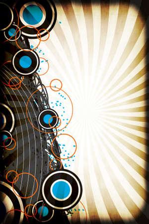 A graphical layout with circles and retro art elements over a grungy radiating rays background. photo