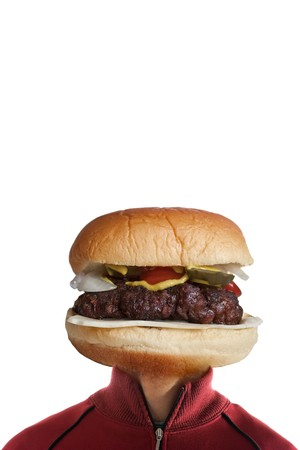 what: A man with a hamburger as a  head.  They say you are what you eat!