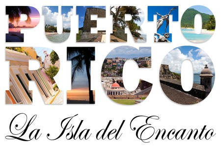 The words Puerto Rico La Isla Del Encanto which means the island of enchantment.  Famous locations are montaged into the letters. photo