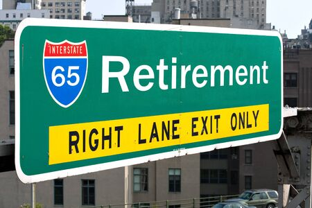 A conceptual highway sign to illustrate the average retirement age of 65 years old.