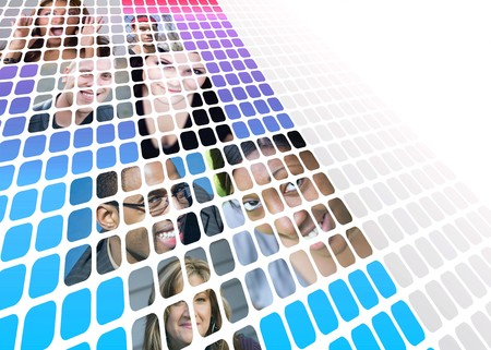 Montage of a variety of people from mixed races and ethnicity isolated over white with negative space. photo