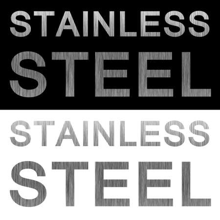 Stainless steel brushed metal texture labels isolated over black and white backgrounds. Stock Photo
