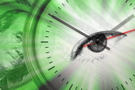 investment concept: Conceptual montage themed around money with a clock and an eye in the center of the dial. Stock Photo