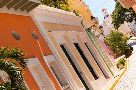 A row of colorful pastel painted buildings in Old San Juan Puerto Rico. Stock Photo