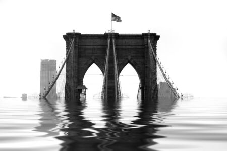 Conceptual illustration of the Brooklyn Bridge flooded with water due to natural disaster or global warming. illustration
