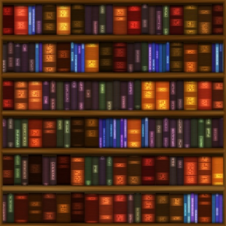 A seamless book shelf pattern with rows of colorful bound books.