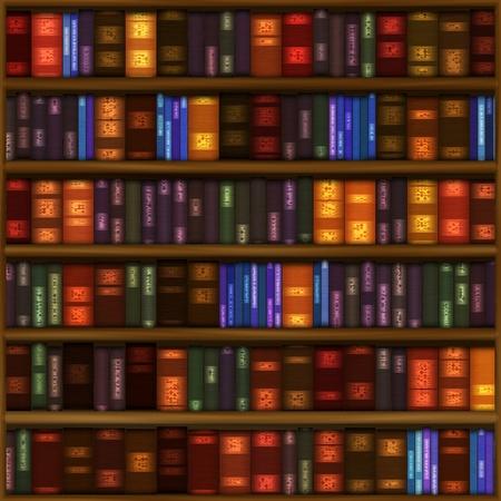 Een naadloze boek plank patroon met rijen van kleurrijke gebonden boeken.