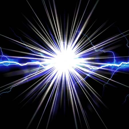 bust: Bright glowing lightning or electricity glowing with a star bust flare accent.
