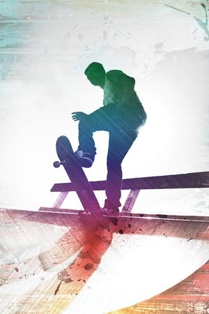 skateboarder: Grungy textured skateboarder silhouette with rainbow colored accents.