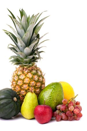A group of arranged fresh fruits and vegetables isolated over white. photo