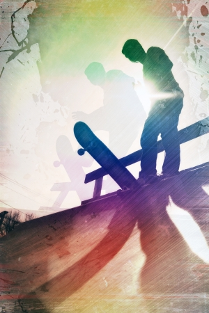 Grungy textured skateboarder silhouette with rainbow colored accents. photo