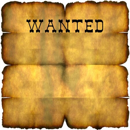 western wall: An empty wanted poster with copy space isolated over white. Stock Photo