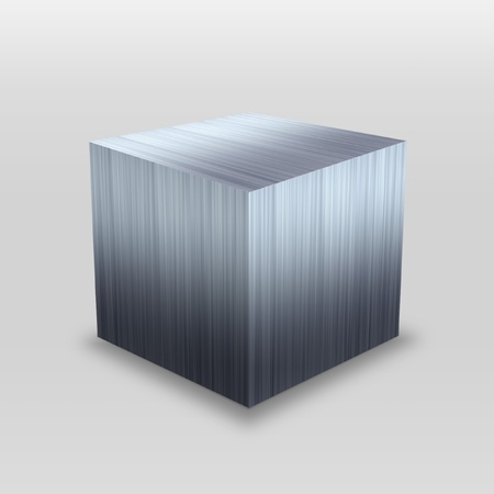 Illustration of a 3D stainless steel metallic cube isolated over a silver background. Stock Photo