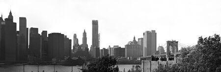 A panoramic image of the New York City Manhattan skyline including the Brooklyn bridge  bridge. Stock Photo - 8482045