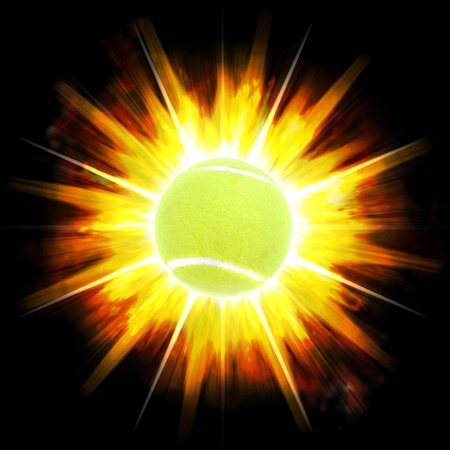 exploding: A single green tennis ball over an exploding fire burst background. Stock Photo