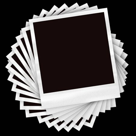 A pile of instant film photos arranged in a circular pile over a black background. Stok Fotoğraf - 8520865