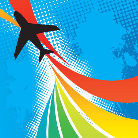 airplane: Silhouette of an airplane flying over an abstract rainbow colored backdrop with splattered halftone accents. Illustration