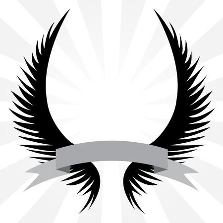 ali angelo: Gothic cercando cresta angelo ali con un nastro striscione isolato su uno sfondo d'argento raggi.
