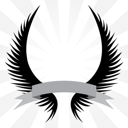 angel white: Gothic looking angel wings crest with a banner ribbon isolated over a silver rays background.