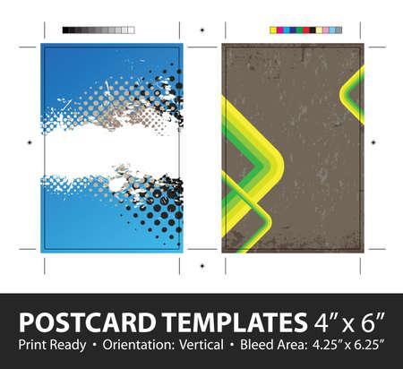 spattered: Grunge stripes postcard or direct mailer design template set with copy space.  Illustration